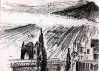 Aetna von Taormina gesehen. Graphit. 1987