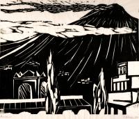 Aetna von Taormina gesehen. Holzschnitt. 1988