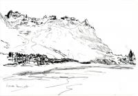 Taormina vom Meer aus. Bleistift. 1987