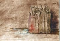 hoelzerne-festung-federzeichnung-auarell-20-x-28-cm-1992